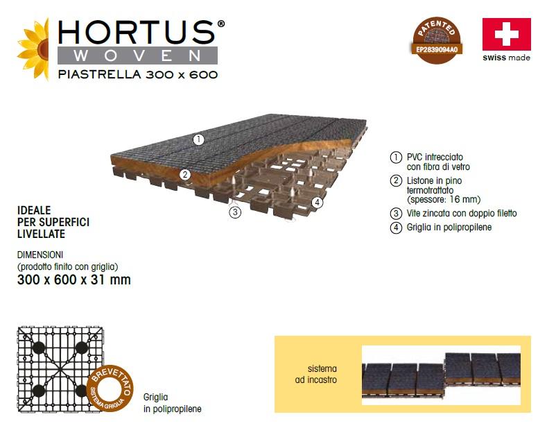 CARATTERISTICHE TECNICHE PAVIMENTO PER ESTERNI HORTUS WOVEN 300x300mm