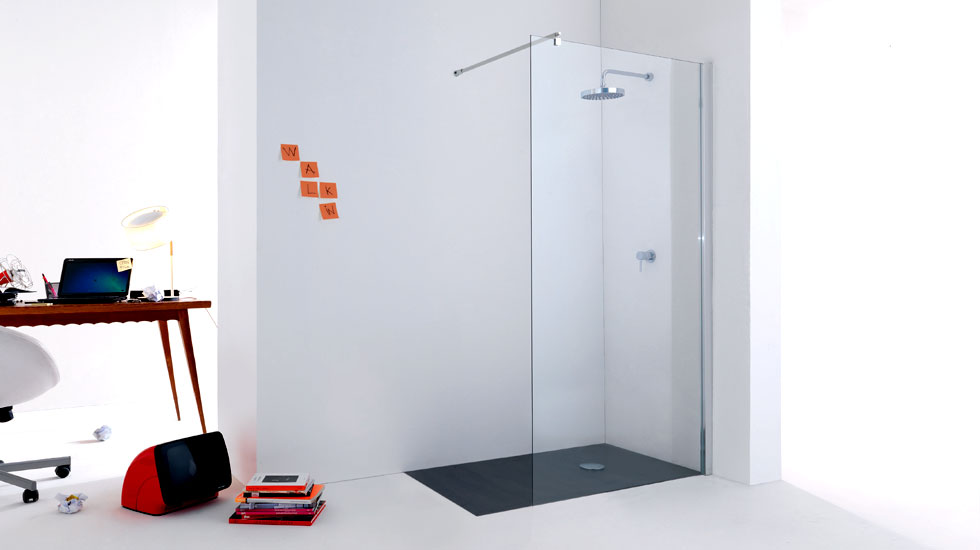 Pareti Per Doccia In Vetro : Parete doccia par053 vetro temperato 6mm trasparente fissaggi cromati