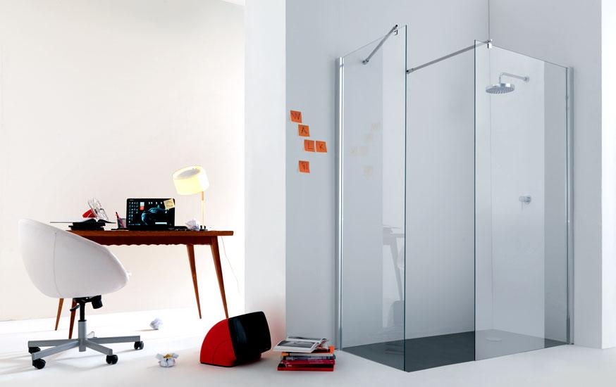 Pareti Per Doccia In Vetro : Parete doccia par vetro temperato mm trasparente fissaggi cromati